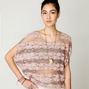 FREE PEOPLE Country Fair Sheer Lace Low Back Top